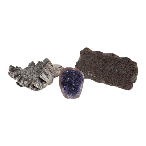 Amethyst Crystal & Wood Pieces - Set of 3 - Image 1 of 11