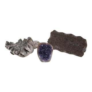 Amethyst Crystal & Wood Pieces - Set of 3