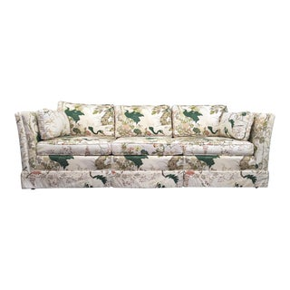 Henredon Inspired Hollywood Regency Chinoiserie Asian Bird Tuxedo Sofa