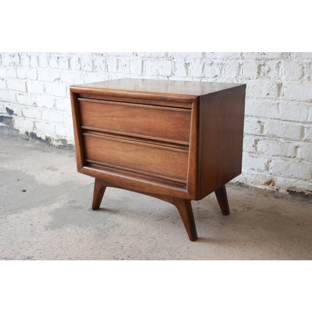Image of United Mid-Century Sculpted Front Walnut Nightstand