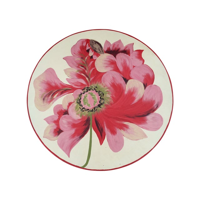 Metal Floral Painted Side Table Covers - A Pair - Image 1 of 10
