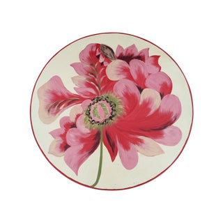 Metal Floral Painted Side Table Covers - A Pair