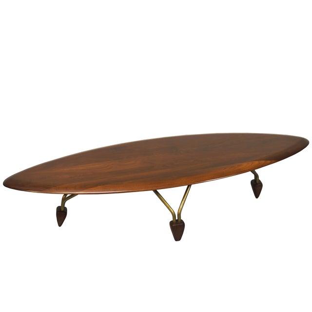 Vintage Walnut Surfboard Coffee Table By John Keal Chairish