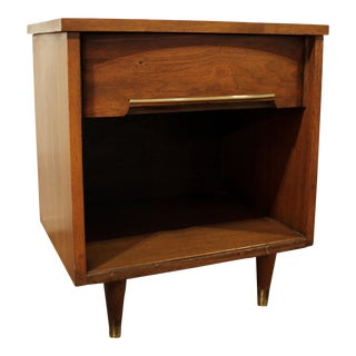 Mid-Century Danish Modern Walnut Brass Nightstand/End Table