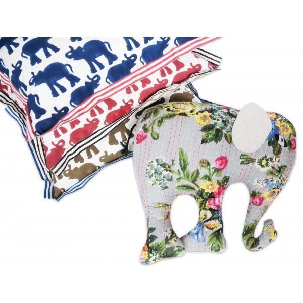 Image of Block Printed Elephant Pillow