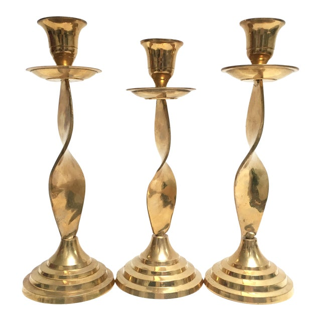 Image of Vintage Brass Twisted Candle Holders - Set of 3