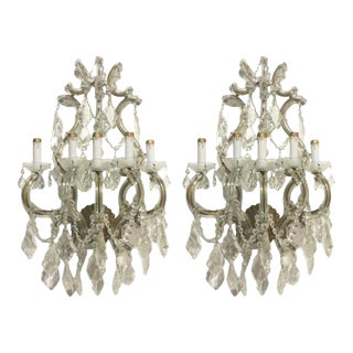 Antique Crystal Wall Sconces of Venetian Glass - a Pair