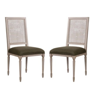 Sarreid LTD Adams Beechwood & Caned Chairs - A Pair