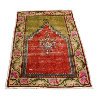 "Vintage Turkish Oushak Handmade Antique Prayer Rug - 37"" x 52"""