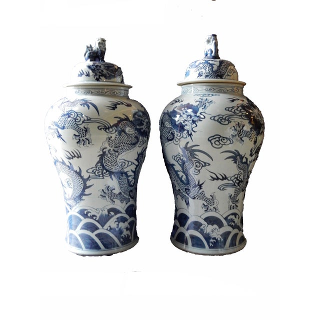 Mansion Size H. Painted Dragon Ginger Jars - a Pair - Image 5 of 9