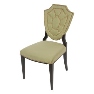 Upholstered Shield Back Chair With Nailhead Trim