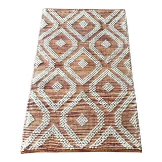 "Handwoven Indian Medallion Rug in Orange Rust - 2'3"" X 3'9"""