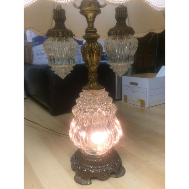 Vintage Brass & Crystal Lamps - Pair - Image 6 of 11