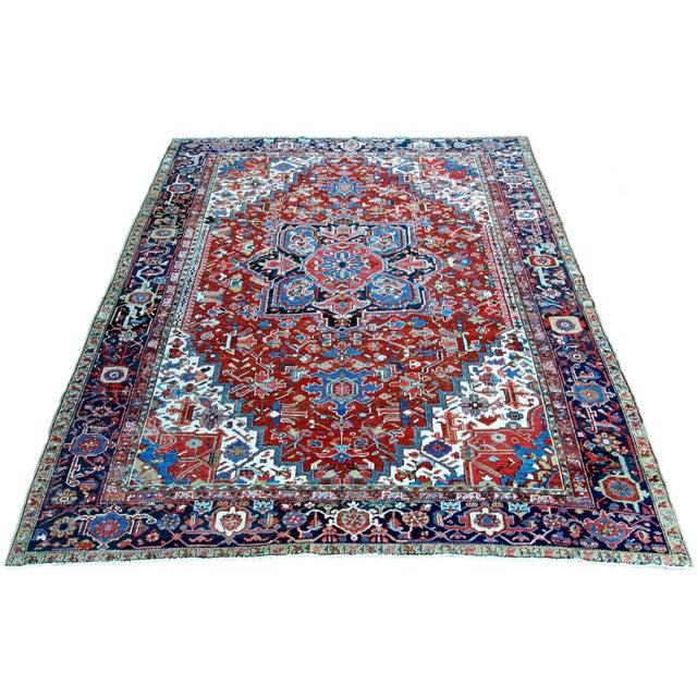 """Antique Persian Heriz Rug - 8' 10"""" x 11' 2"""" - Image 2 of 9"""