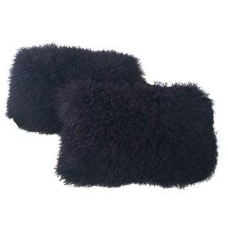 Purple Lamb Fur Pillows - Pair