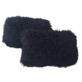 Purple Lamb Fur Pillows - Pair