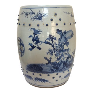 Vintage Chinese Porcelain Blue & White Stool