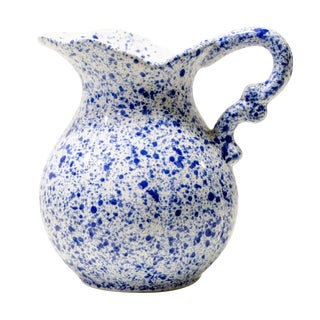 Vintage Blue Speckled Ceramic Pitcher