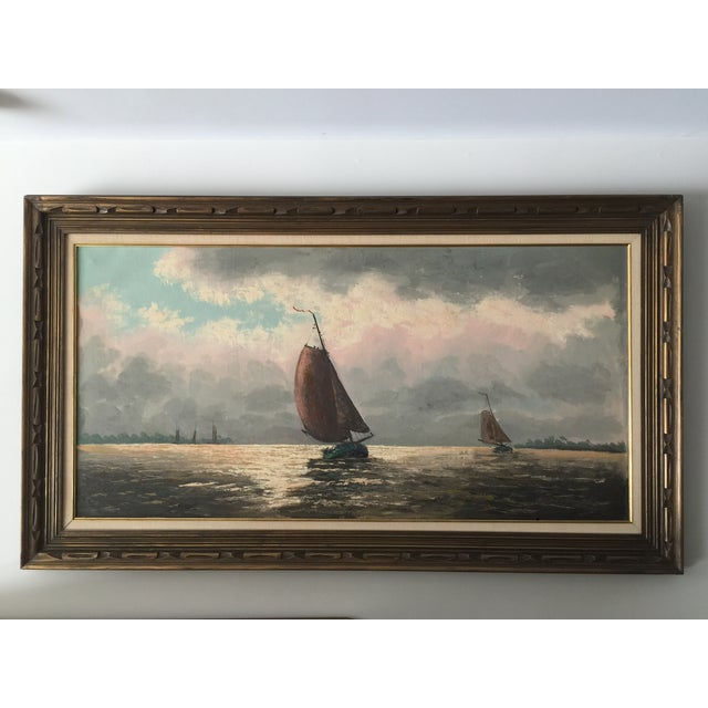 Oil Painting of Sailboats - Image 2 of 5