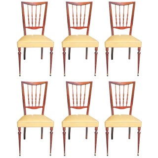 Set of Six French Art Deco Solid Mahogany Dining Chairs, circa 1940s