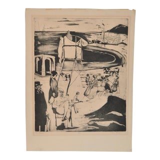 "1950s Vintage ""The Beach"" Etching by Helen Breger"