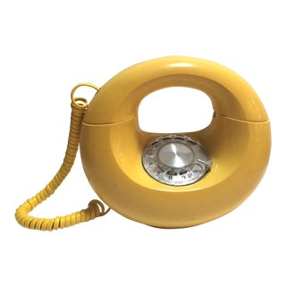 "Mid-Century Yellow General Electric Sculptura Rotary Dial ""Donut"" Phone"