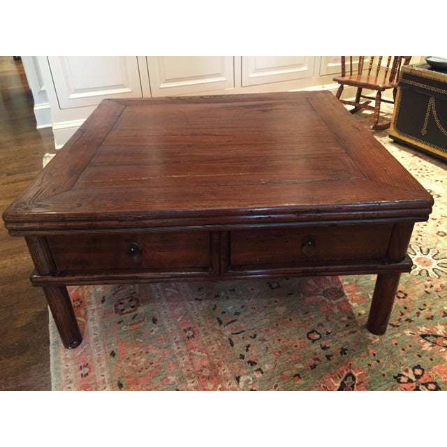 Square Elm Wood Coffee Table - Image 2 of 5