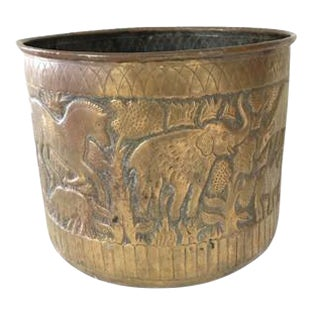 African Jungle Decorated Golden Planter
