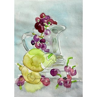 Still Life With Grapes Watercolor Painting