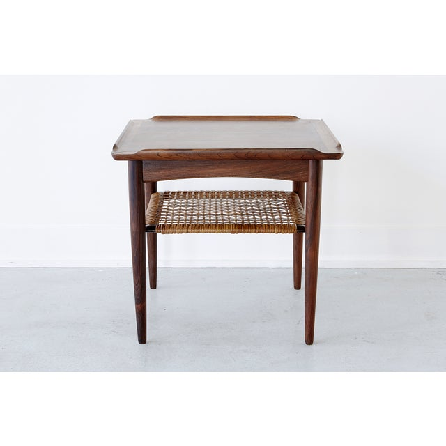 Poul Jensen Rosewood & Cane Side Table - Image 2 of 7