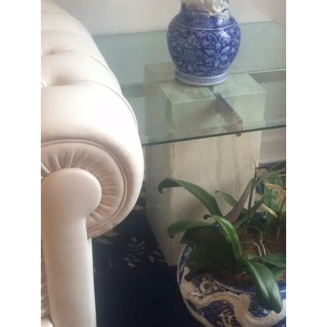 Brass & Glass Travertine End Table - Image 4 of 7