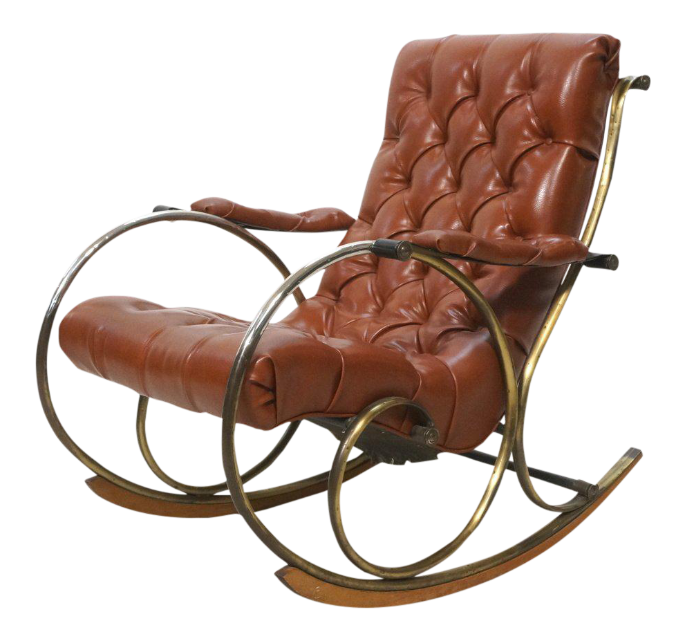 And wood rocking chair by woodard leather brass and wood rocker by - Vintage Amp Used Brown Rocking Chairs Chairish