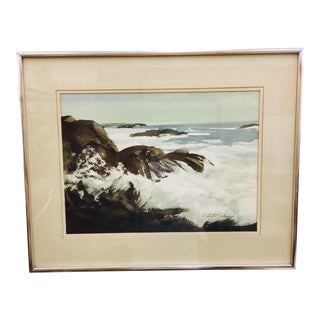Vintage Framed Watercolor Seascape Painting