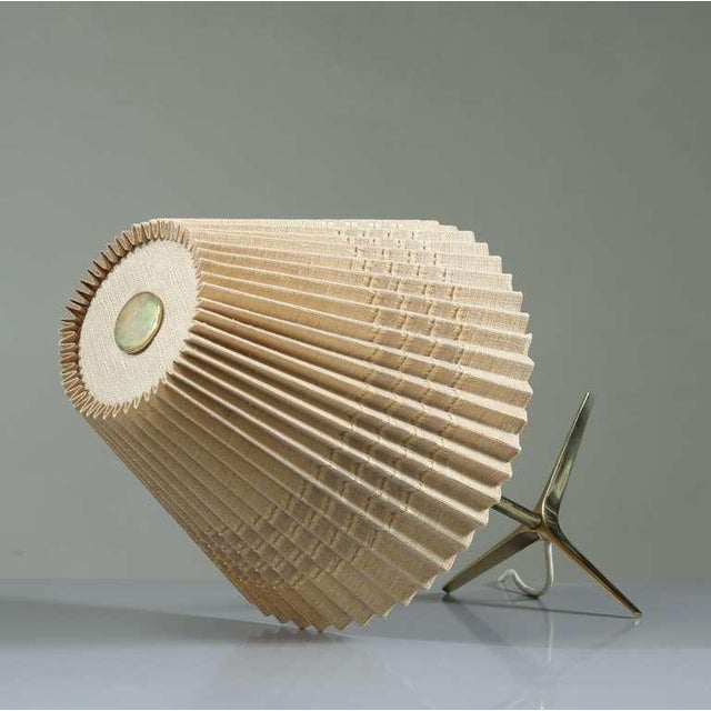 Image of Brass And Wood Table Lamp With Pleated Fabric Shade, 1950s