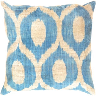 Blue & Tan Silk Velvet Ikat Pillow