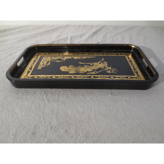 Antique English Black Lacquer Tray - Image 3 of 7