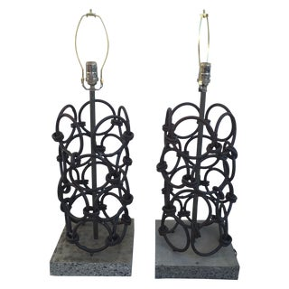 Brown Iron & Cement Table Lamps - A Pair
