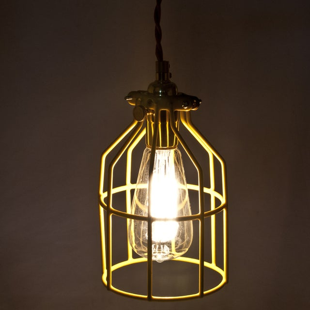 Yellow Industrial Pendant Light: Yellow Industrial Metal Cage Light