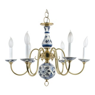 Delft Blue & White Ceramic 6 Light Chandelier