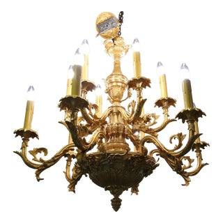 19th century Stunning Louis XVI Gilt Bronze Chandelier w/12 candles