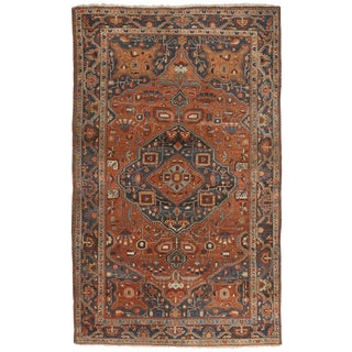 "Antique Persian Sarouk Rug - 4'5"" x 7'1"""