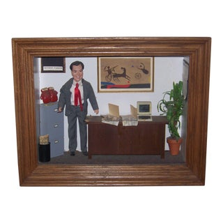 Late 20th Century Monroe Parker Investment Bankers Advertising Shadowbox