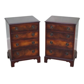 1940s Chippendale Mahogany Nightstands - Pair