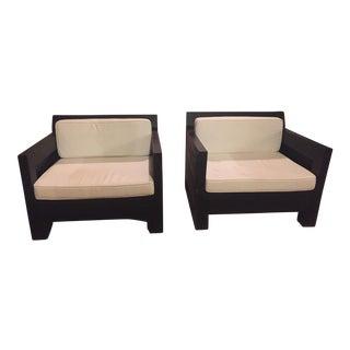 Dark Teak Club Chairs - A Pair
