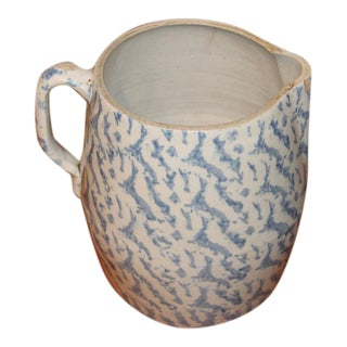 19th Century Spongeware Pottery Large Milk Pitcher
