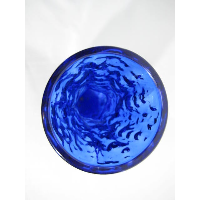 Art Glass Bark Textured Blue Vase - Image 8 of 9