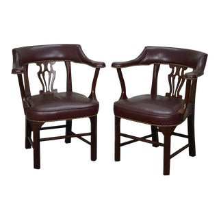 Chippendale Style Mahogany & Leather Office Arm Chairs - A Pair