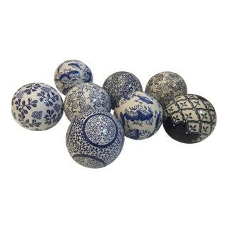 Chinoiserie Blue & White Export Spheres - S/8