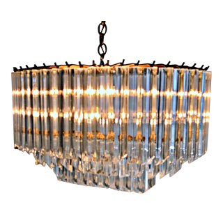 Oval Three Stories Lucite Chandelier
