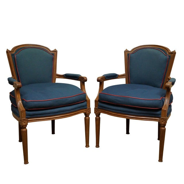 french louis xvi style fauteuil armchairs a pair chairish. Black Bedroom Furniture Sets. Home Design Ideas